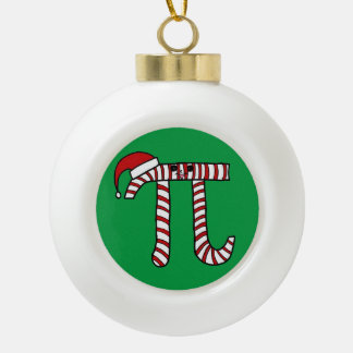 Cute Christmas Pi Ornament (Green Background)
