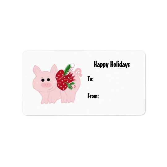 Cute Christmas Piggy Gift Tag Address Label