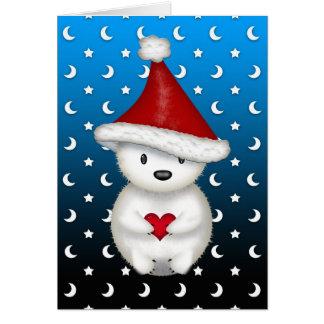 Cute Christmas Polar Bear holding Heart Greeting Card