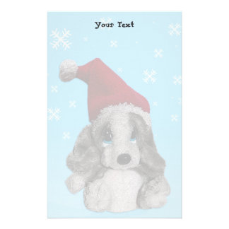 Cute Christmas Puppy In Santa Hat Writing Paper Stationery