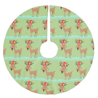Cute Christmas Reindeer with Santa Hat on Green Brushed Polyester Tree Skirt