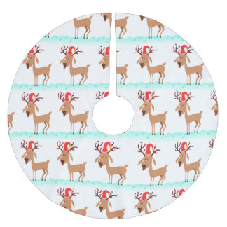 Cute Christmas Reindeer with Santa Hat on White Brushed Polyester Tree Skirt