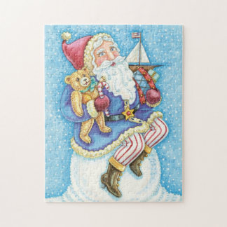 Cute Christmas, Santa Claus on Snowball with Toys Jigsaw Puzzle