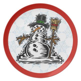 Cute Christmas Snowman Plate