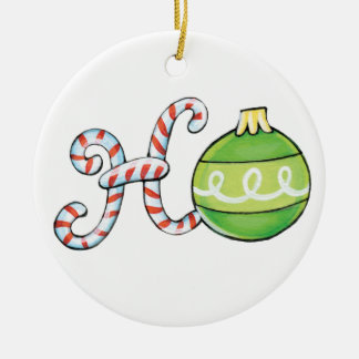 Cute Christmas Text, Ho in Candy Canes Ornaments