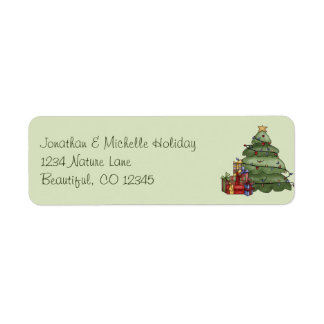 Cute Christmas Tree and Gifts Holiday Address Return Address Label