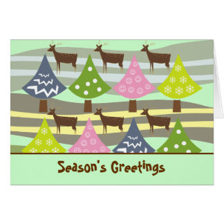 Cute Christmas Trees And Deer Cards