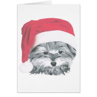 Cute Christmas Yorkie Dog Greeting Card