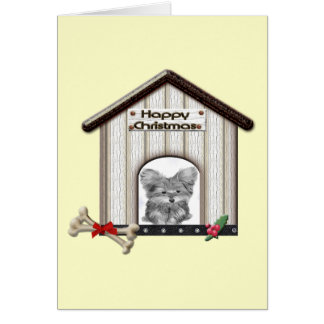 Cute Christmas Yorkie Dog House Card