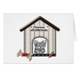 Cute Christmas Yorkie Dog House Greeting Card