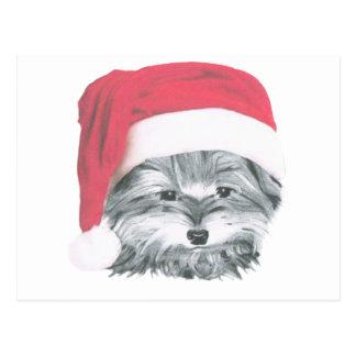 Cute Christmas Yorkie Dog Postcard
