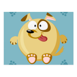 Cute circle dog postcard