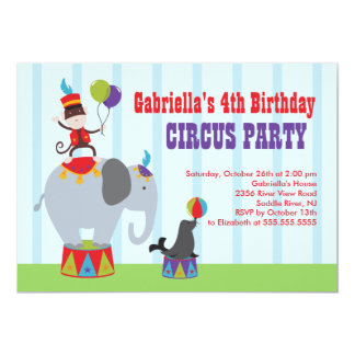 CUTE Circus Kids Birthday Party Invitation