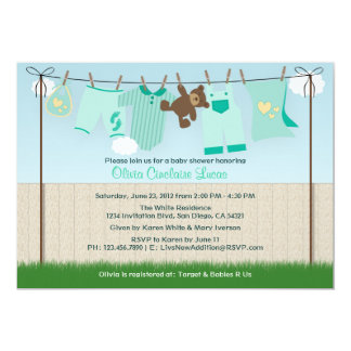 Cute Clothesline Gender Neutral Modern Baby Shower Card