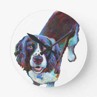Cute Cocker Spaniel by Robert Phelps Round Clock