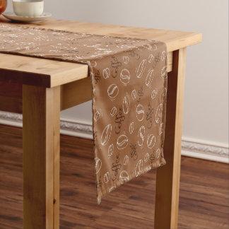 Cute coffee bean word art pattern table runner
