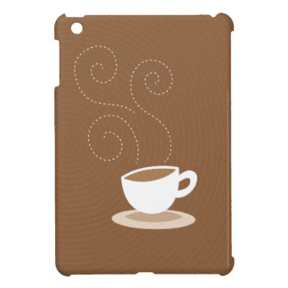 Cute coffee cup on brown pattern background case for the iPad mini