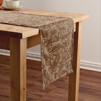 Cute coffee word art tiled pattern table runner