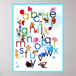 Cute Coloedul Cartoon Animals Alphabet Poster