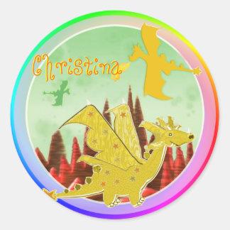 Cute Color Dragon Round Sticker