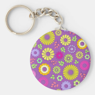 Cute colorful and purple summer flowers basic round button key ring