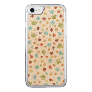 Cute Colorful Animal Footprints Pattern Carved iPhone 7 Case
