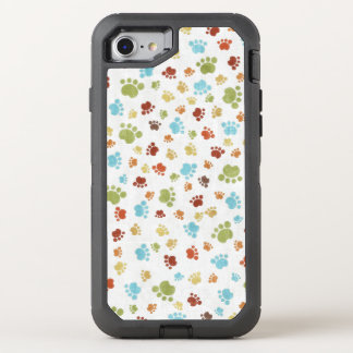 Cute Colorful Animal Footprints Pattern OtterBox Defender iPhone 7 Case