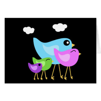 Cute Colorful Bird family greeting card
