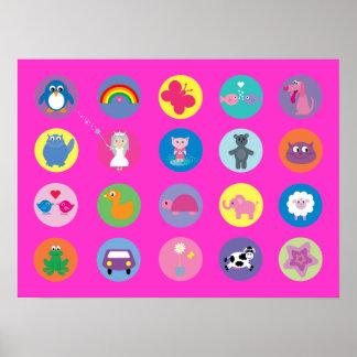 Cute Colorful Cartoon Animals Pink Custom Poster