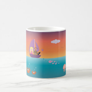 Cute Colorful Cartoon Sailing Boat & Animals Mugs