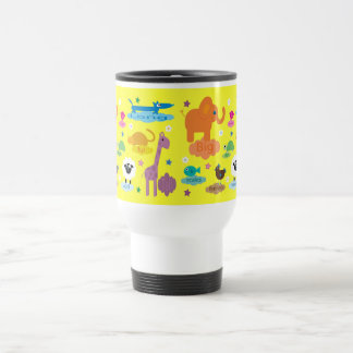 Cute Colorful Educational Animals Yellow Custom Coffee Mug