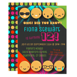 Cute Colorful Emoji Birthday Party Invitation