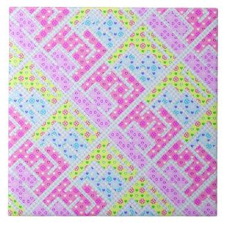 Cute colorful girly geometric graffiti patterns large square tile