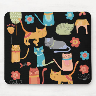 Cute Colorful Kitty Cats Gifts for Cat Lovers Mouse Pad