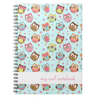 Cute Colorful Owls Notebook (teal)