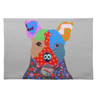Cute Colorful Patchwork Pitbull Dog Placemat
