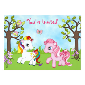 Cute Colorful Ponies Girls Horse Birthday Invite