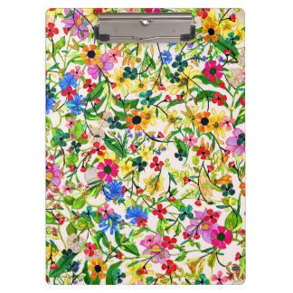 Cute colorful spring floral flowers clipboards