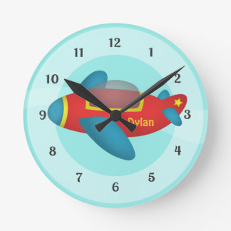 Cute Colourful Aeroplane Jet for Kids Wallclock