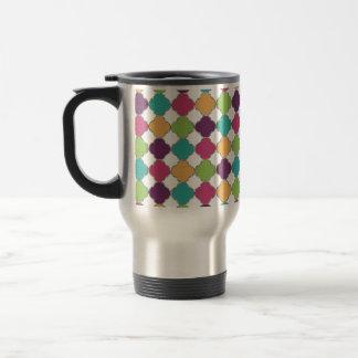 Cute colourful girly trendy Quatrefoil pattern Travel Mug