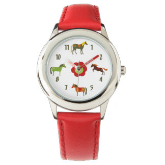 Cute Colourful Retro Ponies and Flower Horse Watch