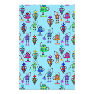 Cute colourful robots on blue background stationery