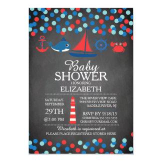 Cute Confetti Nautical Boys Baby Shower Invitation