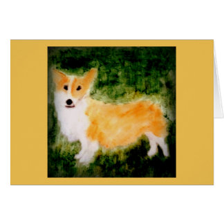 Cute Corgi Dog Art Greeting Card