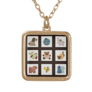 Cute Country Style Baby Animals Quilt Gold Plated Necklace