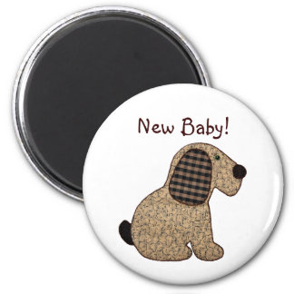 Cute Country Style Gingham Dog New Baby Magnet