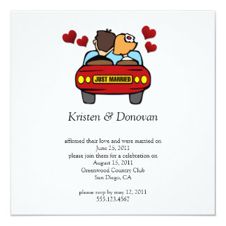 Cute Couple Just Married Post Wedding Celebration 13 Cm X 13 Cm Square Invitation Card