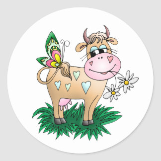 Cute Cow & Butterfly Round Sticker
