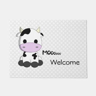 Cute cow cartoon polka dot welcome door mat
