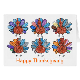 Cute Crayon Turkeys Kids Art Thanksgiving Card